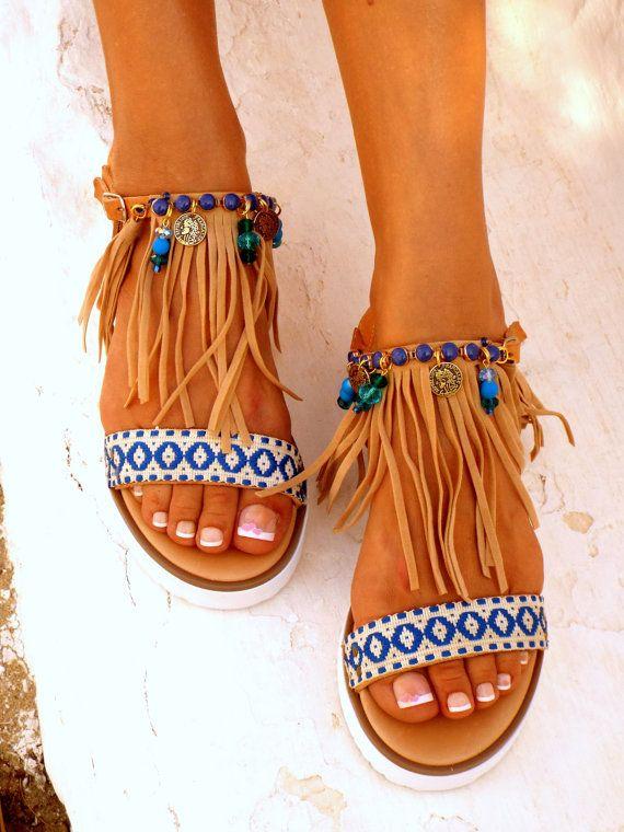 2b37fad28 Boho Fringe Sandals Handmade Sandals Greek Sandals by DelosArt