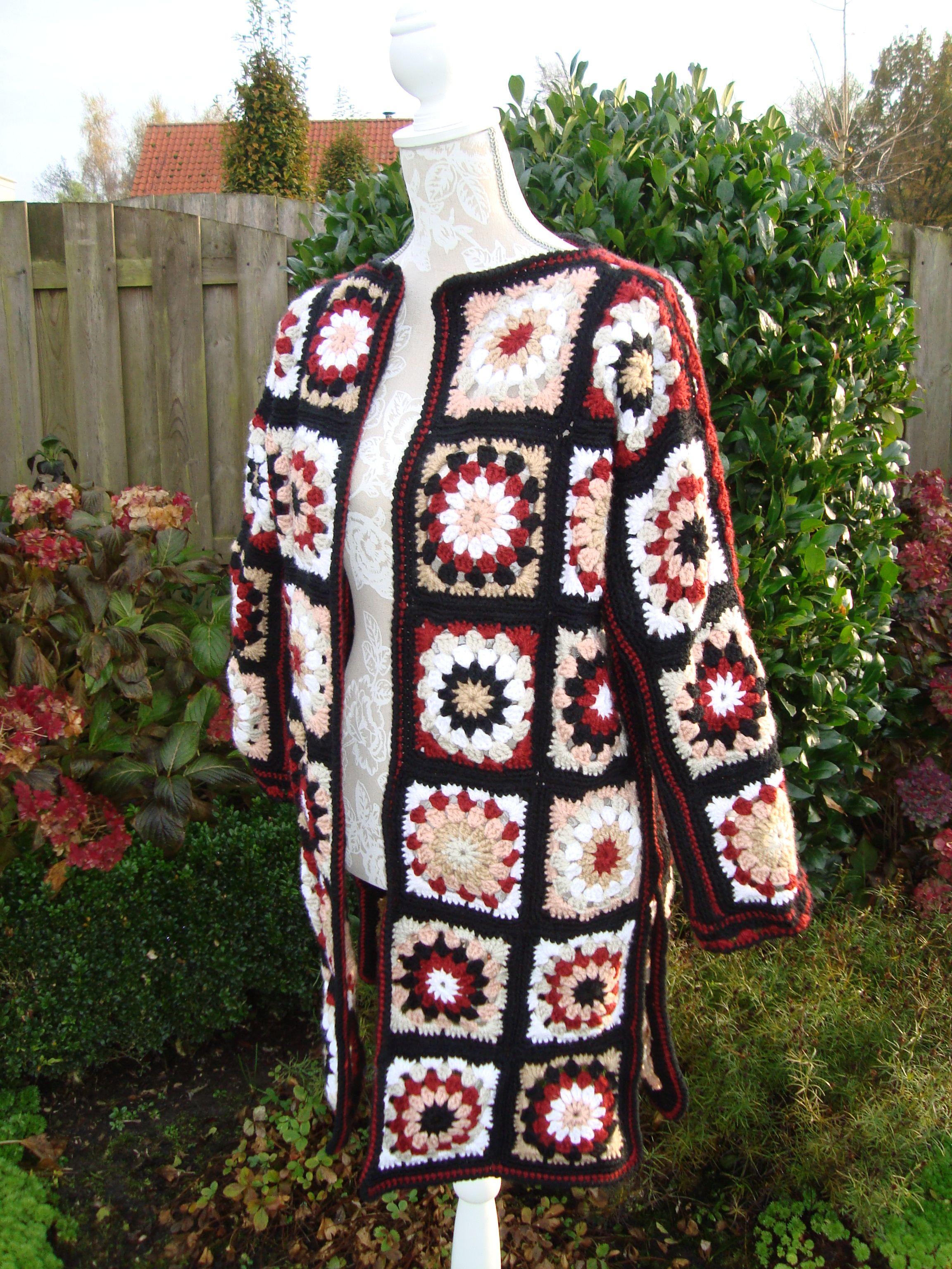 Colourful Long Cardigan Crochet Pattern Coatigan In Grannies By