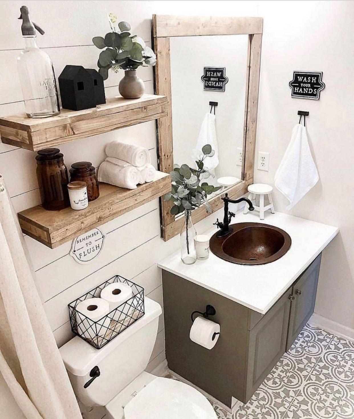 Pin By Michele Gicopoulos On Farmhouse Ideas Small Bathroom Decor Bathroom Decor Home Decor