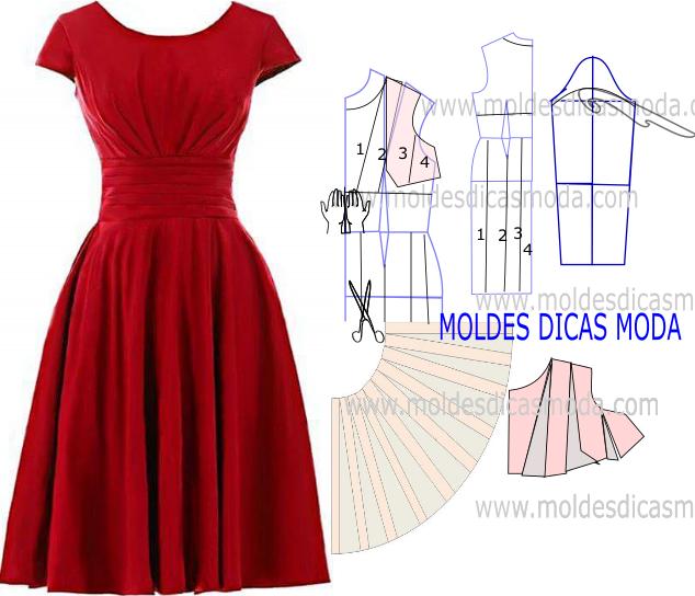MOLDE VESTIDO VERMELHO -245 | costuras* | Pinterest | Costura, Molde ...