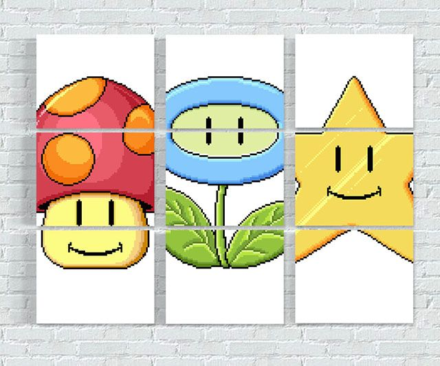 Super Mario Match Game Wall Prints | Try out your luck with these Super Mario match game wall prints. Inspired from the mini-game featured in Super Mario 3, these highly portable and extremely...