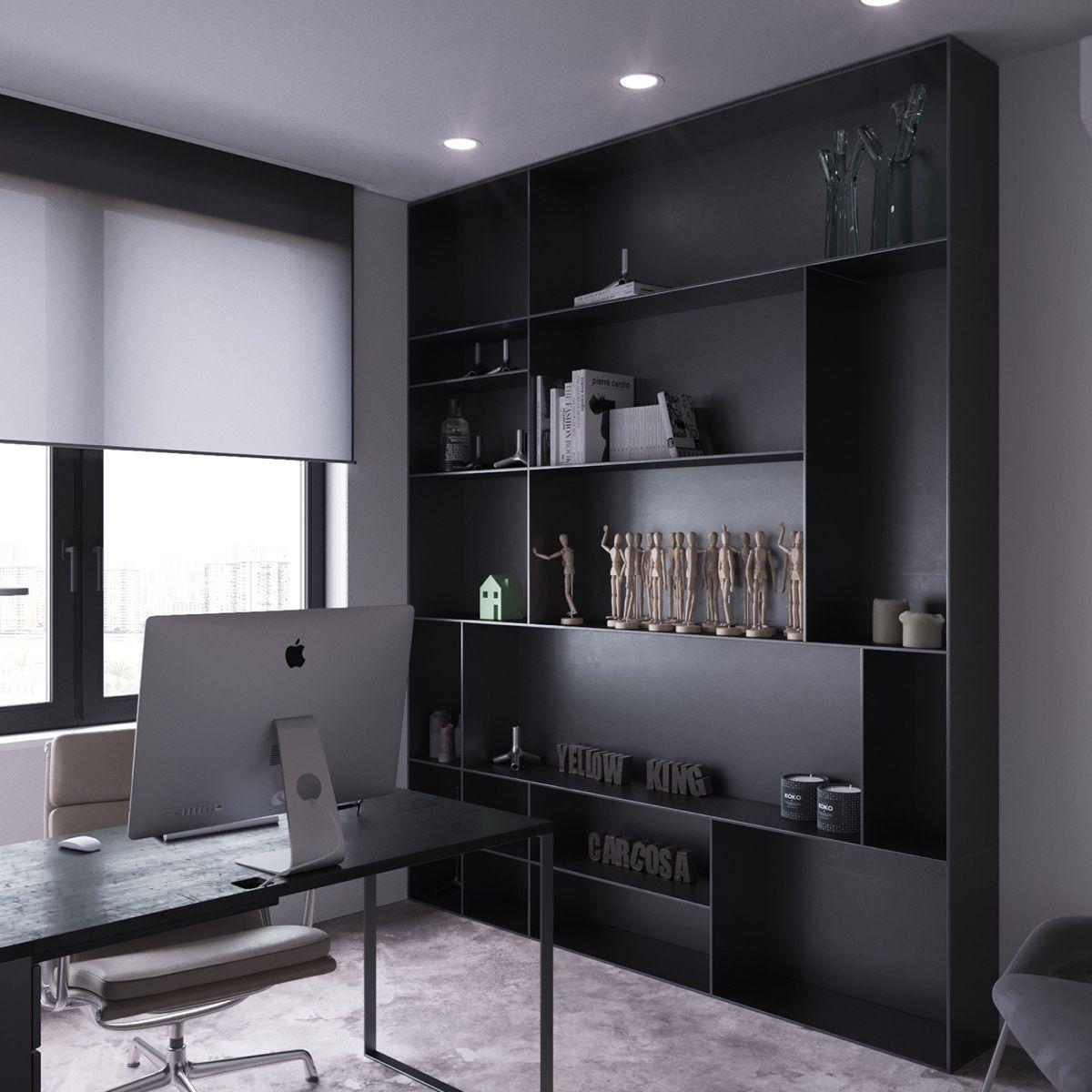 Dark Moody Bachelor Pad Design: 2 Single Bedroom L-Shaped