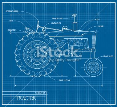 A vector illustration of a tractor made to look like a blueprint - fresh genetic blueprint band