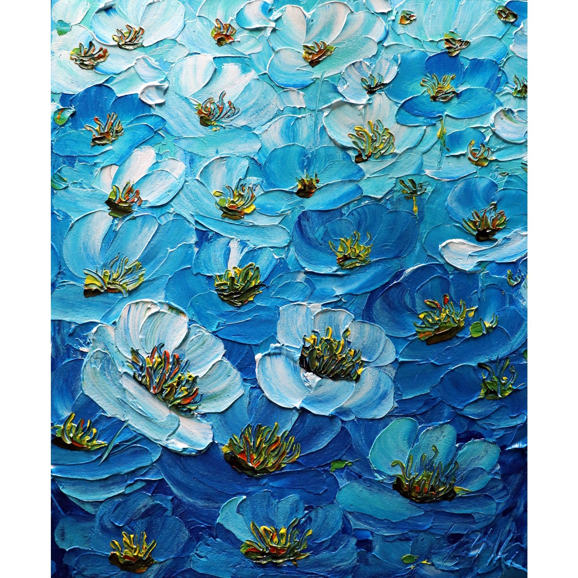 Anemones Enhanced Blue Original Oil Impasto Painting Textured Modern Art By Luiza Vizoli In 2020 Texture Painting Painting Impasto Painting