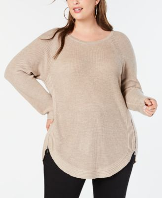 I-N-C Womens Zip Detail Knit Sweater