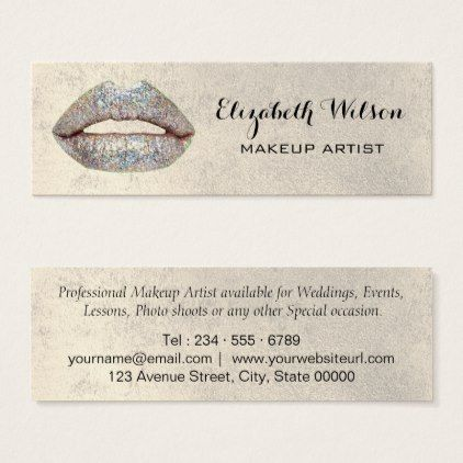 Faux silver glitter lips makeup artist mini business card faux faux silver glitter lips makeup artist mini business card faux gifts style sample design cyo reheart Gallery
