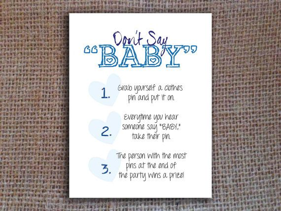 Dont Say Baby Add A Little Fun To Your Baby Shower With This Instant Download Dont Say Baby Gam Dont Say Baby Game Surprise Baby Shower Baby Shower Printables