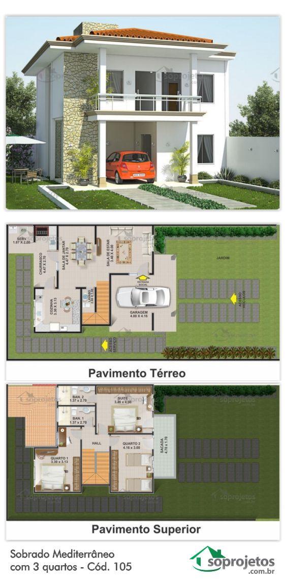 Este projeto consegue ter amplas salas e 3 quartos sendo for Sala de estar estilo mediterraneo