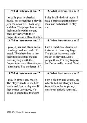 What Instrument Am I Music Worksheet Essay Student Work Youth Violence