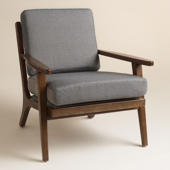 slate gray xander armchair wood frames armchairs and gray - Wood Frame Armchair