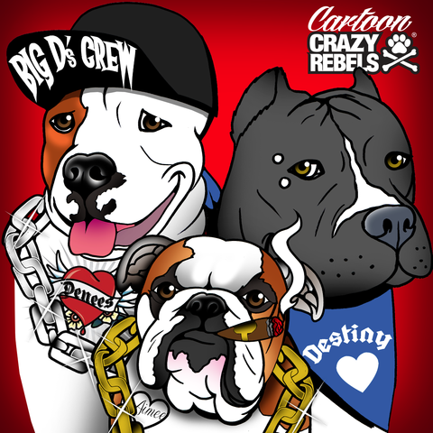 Cartoon Portrait 3 Dogs