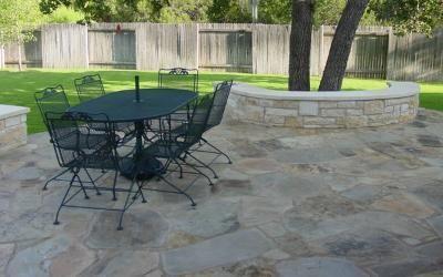 Flagstone Patio In Cedar Park With Built In Benches · Austin StoneCedar ...