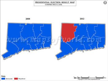 Connecticut Election Results Map 2008 Vs 2012 | US Presidential election