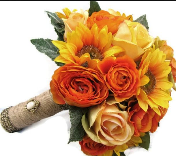 Sunflowers With Orange And Peach Roses Perfect Bouquet Orange Wedding Flowers Wedding Bouquet Orange Roses Rose Wedding Bouquet