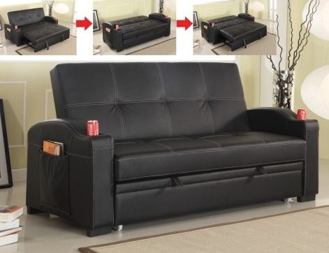 Black Leather Like Vinyl Upholstered Folding Futon Sofa Bed With Built In Cup Holders The Arms Measures 75 X 35 39 H Some Embly Required