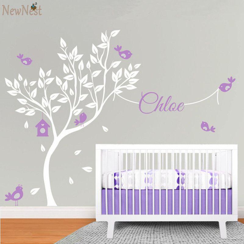 Huge White Tree Wall Decal Vinyl Sticker Nursery Wallpaper Baby Bedroom Art Mural Custom Kid S Name