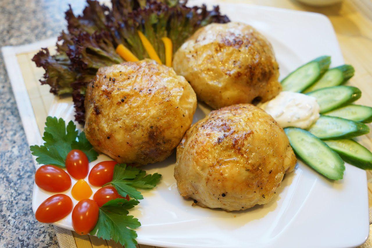 куриные бедрышки с картошкой и грибами