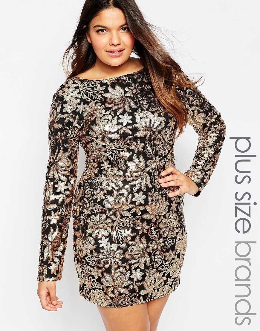 Club L Plus Size Dress In Floral Sequins   Style   Dresses, Plus ...