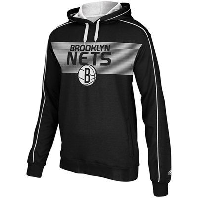 d1f7d5a5e adidas Brooklyn Nets Striped Pullover Hoodie - Black