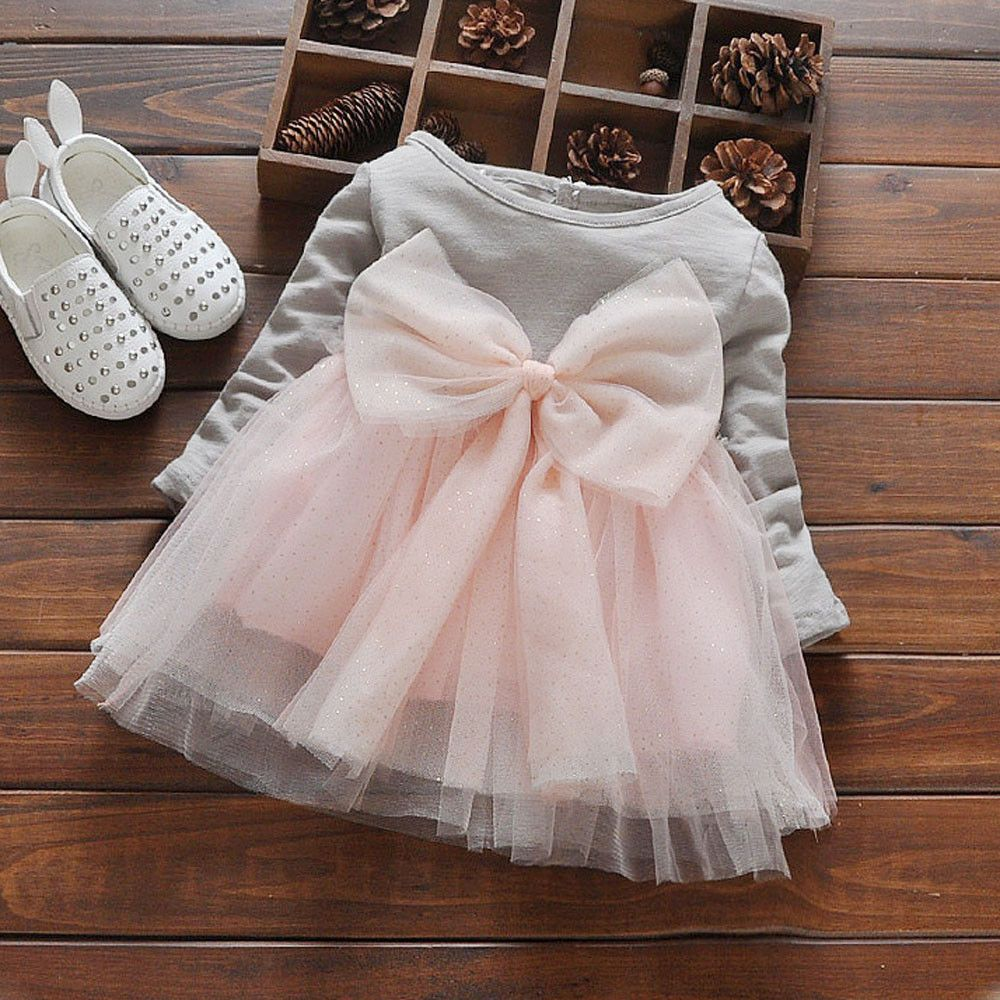 gbp toddler kid baby girl bowknot long sleeve tulle casual