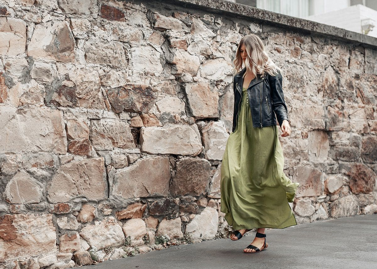 Black sandals jones - Frankie Jones The Label Editorial Love Like No Other Maxi Dress Sage Green Maxi Dress Paired With Black Leather Jacket And Black Sandals Summer Style