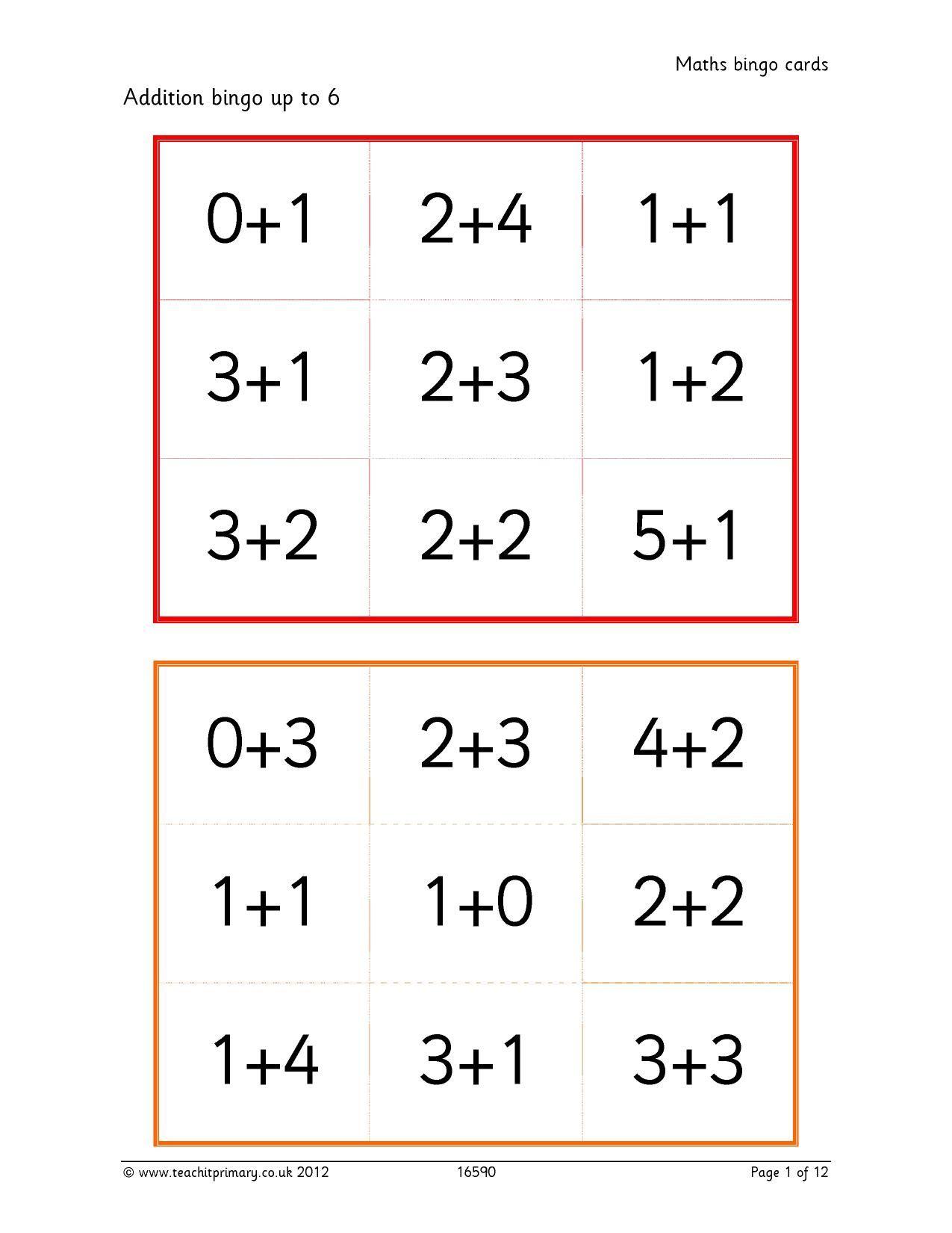Maths Bingo Cards
