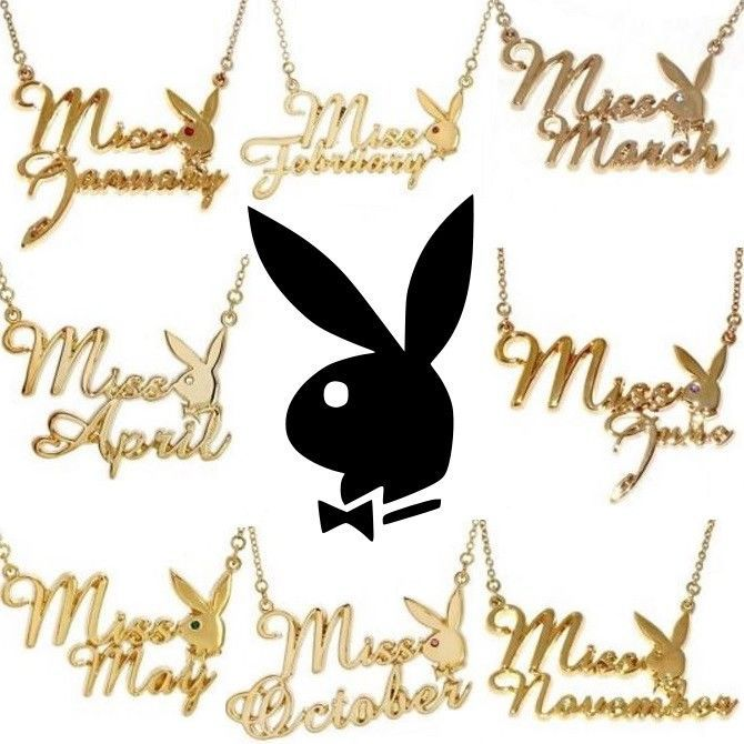 Playboy necklace bunny pendant w chain gold plated swarovski crystal playboy necklace bunny pendant w chain gold plated swarovski crystal miss month aloadofball Image collections