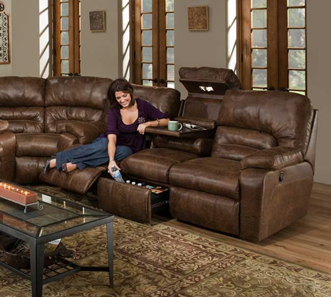 Franklin 596 15s Dakota Collection Sectional With Drawer And Cold