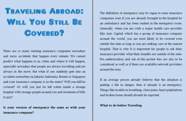 Traveling Abroad: Will You Still Be Covered? - No matter ...