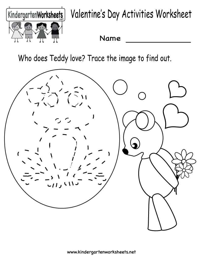 kindergarten valentines day activities worksheet printable - Printable Children Activities