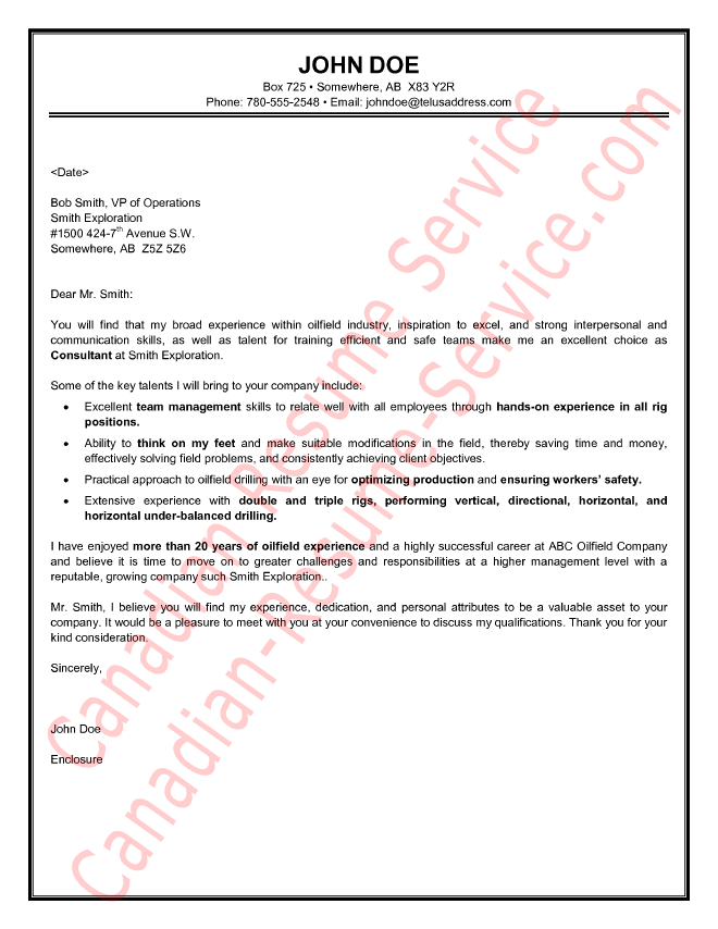 Oilfield Consultant Cover Letter Sample | resume | Sample resume