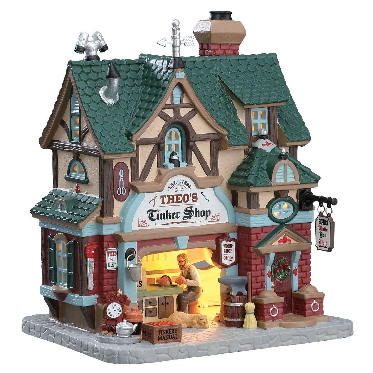 Lemax Theo\'s Tinker Shop verlicht kersthuisje Caddington Village ...