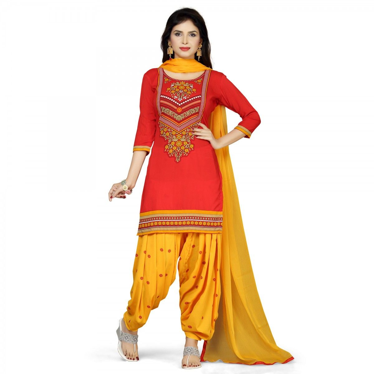 123dd2e921 Buy Red - Yellow Patiala Suit for womens online India