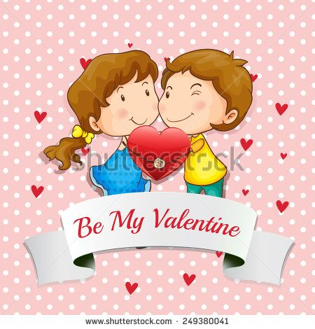 Illustration of a valentine card with lovers hugging