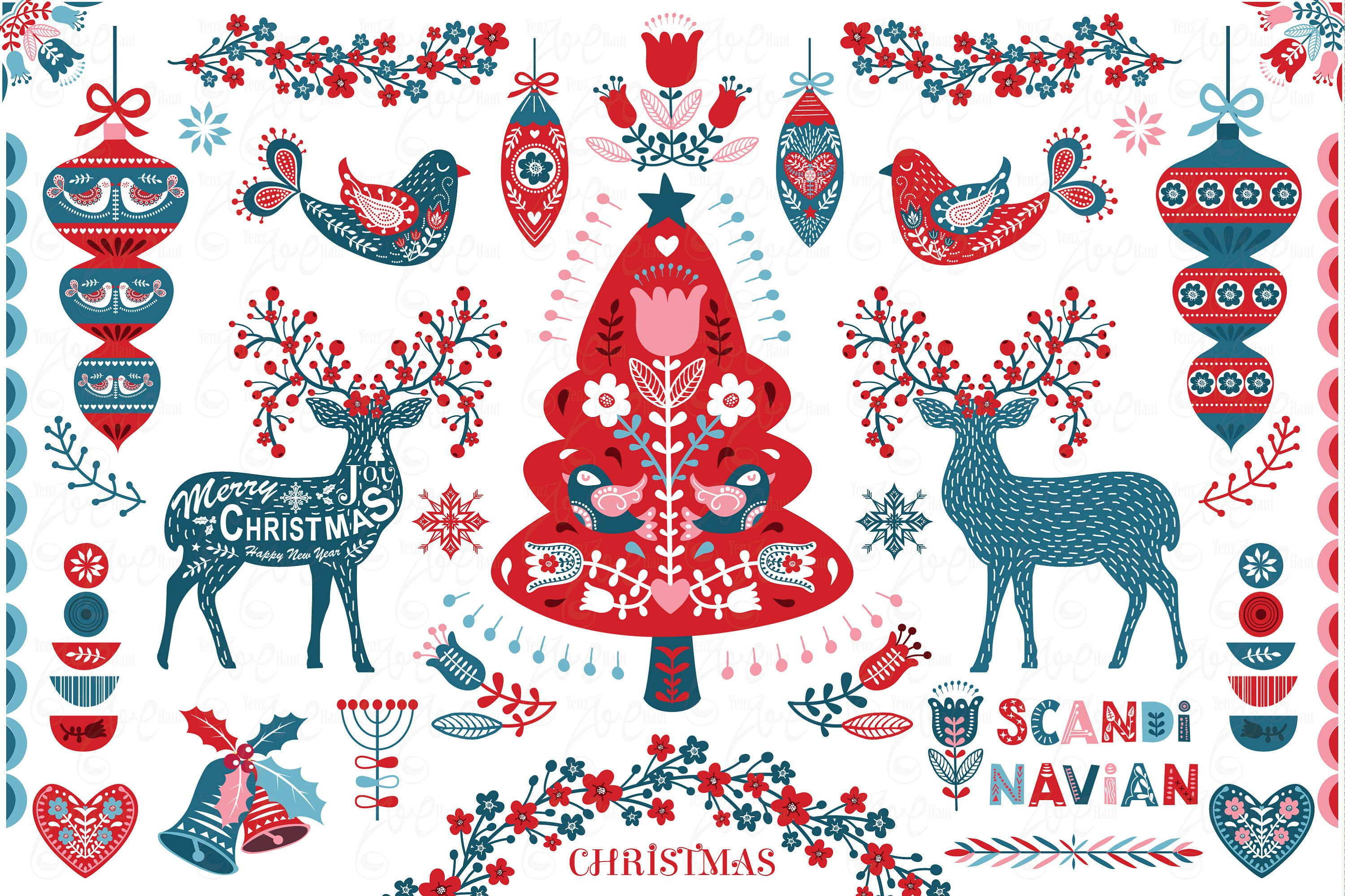Scandinavian Christmas Clipart Folk Art Christmas Christmas Etsy In 2020 Scandinavian Christmas Christmas Watercolor Clip Art