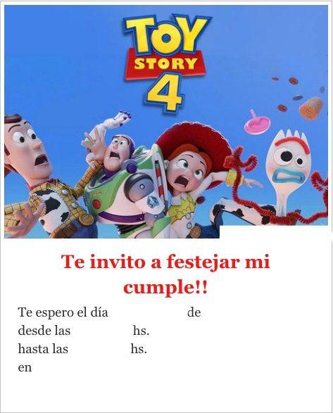 Tarjetas Invitaciones De Cumpleaños Toy Story 4 Para