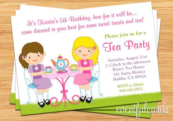 Tea Birthday Party Invitation For Kids In 2019 Willows 2nd And 3rd