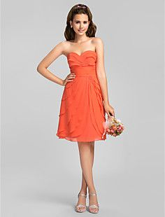 A-line Princess Sweetheart Knee-length Ruffles Chiffon Bride... – USD $ 119.99