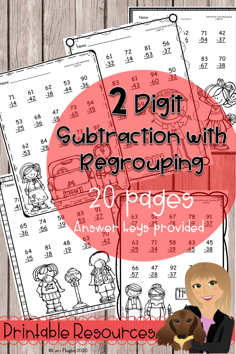 2 digit Subtraction with Regrouping Printables in 2020