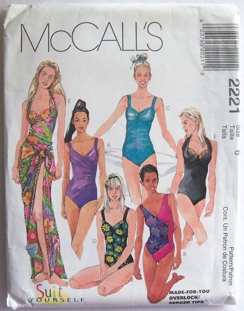 McCall\'s 2221 Swim suit and cover-up, sz 6 Uncut #McCalls #Vintage ...