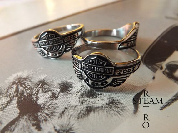 """Get your motor runnin' Head out on the highway Lookin' for adventure And whatever comes our way"" Steppenwolf Having trouble getting a biker ring to fit? This whopping size 14 Harley Davidson 316 stainless steel ring is finished in black enamel and looks the business! Are you Born to be wild?  want to see more from our shop? https://www.etsy.com/shop/SteamRetro?ref=si_shop Buy from Steamretro with confidence, we have a 100% feedback rating!"