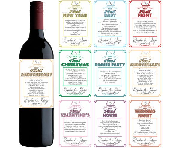 Wine Firsts Wedding Gift: Wine Label Customizable Wedding Gift First Milestones