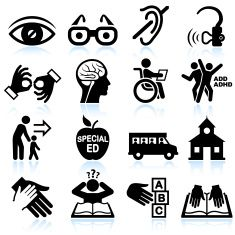 Disability And Special Education Black White Vector Icon Set