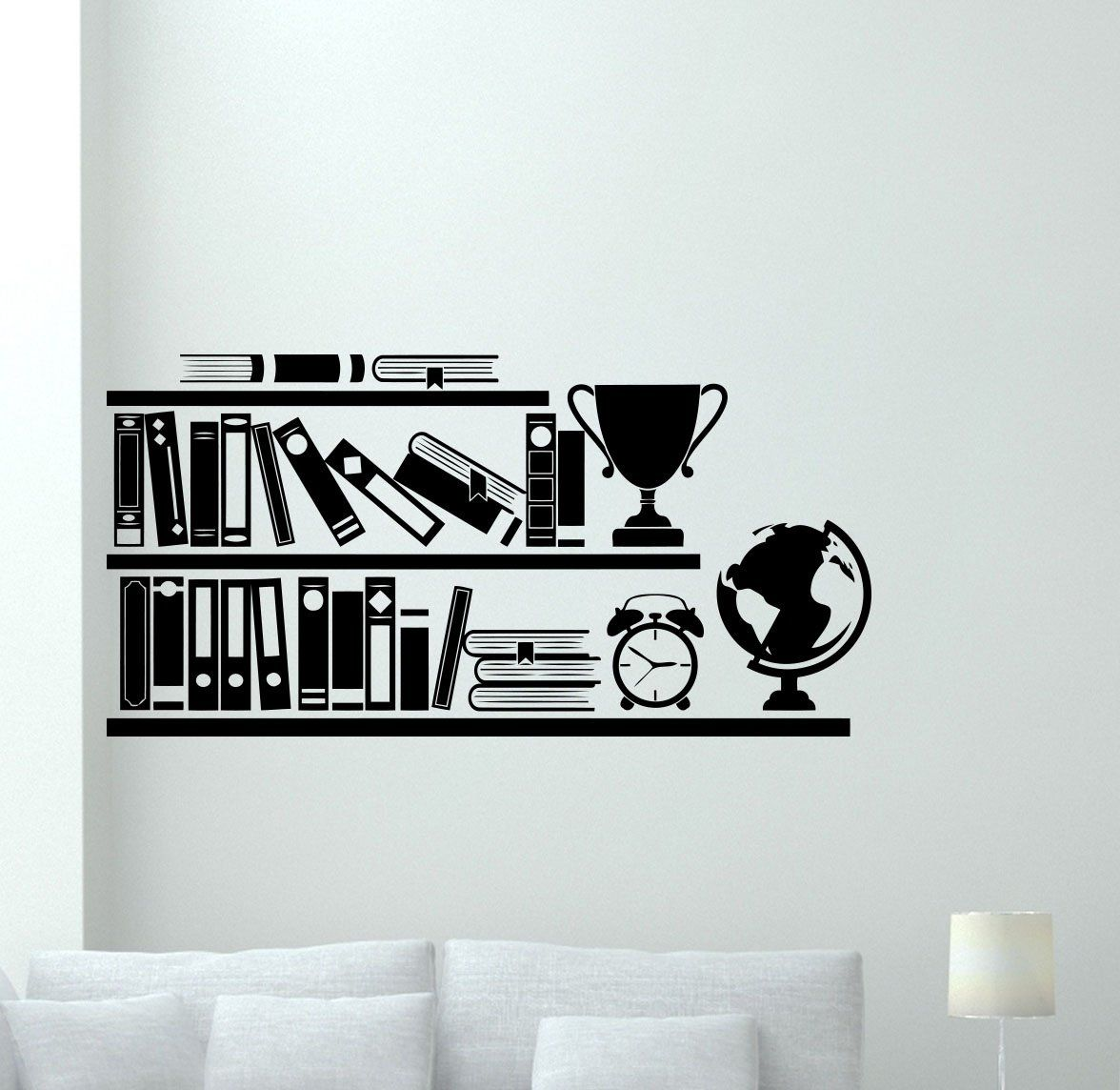 Books On Bookshelf Wall Decal School Library Home Office Study - Printing vinyl decals at home