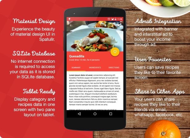 Spatullr recipes app for android mobile codecanyon pongodev spatullr recipes app for android by pongodev forumfinder Image collections