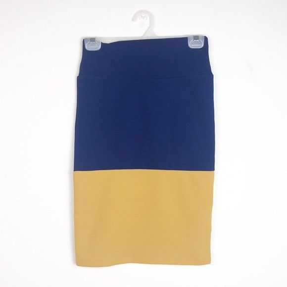 Nwt Lularoe Cassie Skirt Size Xs Womens Casual Pencil Blue Yellow Skirts Women's Clothing