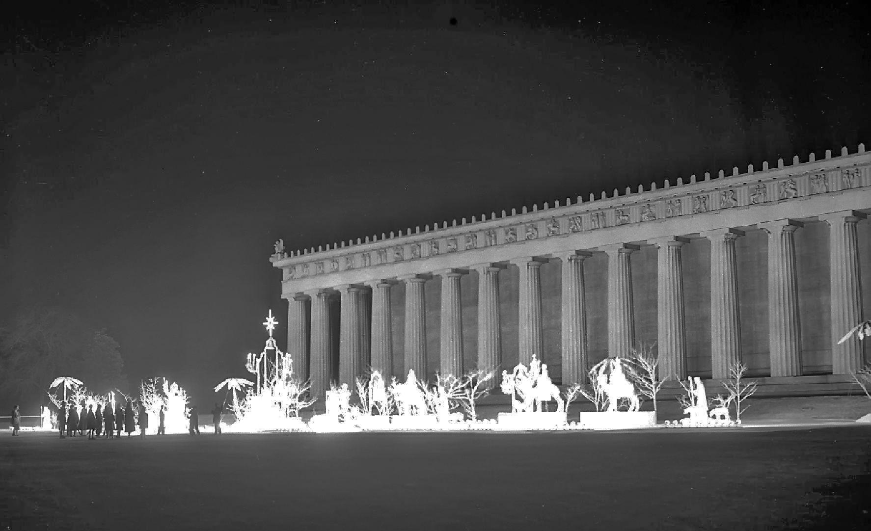 1958 the parthenon nativity scene during christmas at centennial rh pinterest com