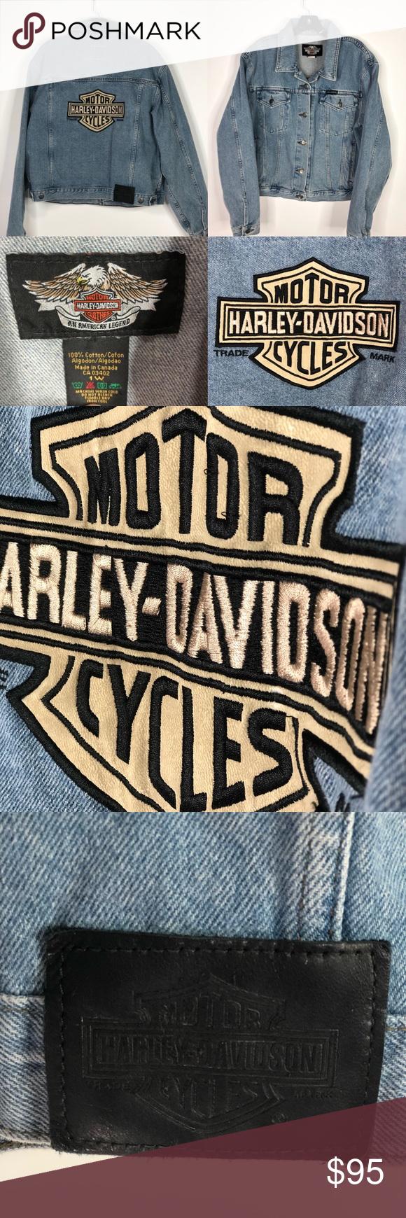 Harley Davidson Vintage Denim Jean Jacket Size 1w Women S Plus