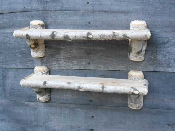 Two Rustic Maine White Birch Knick Knack Shelves by logcabindecor, $52.99