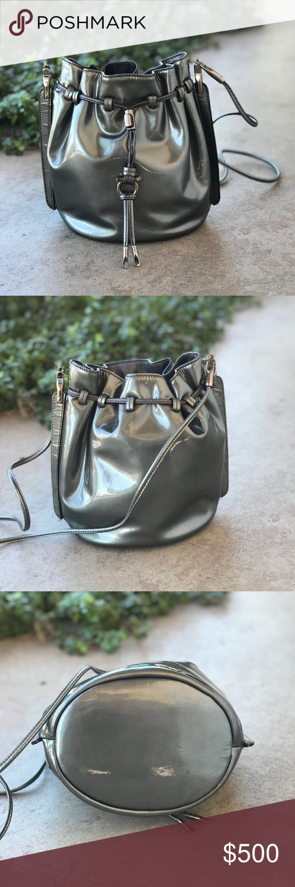Salvatore Ferragamo Silver Patent Bucket Bag Authentic vintage Salvatore  Ferragamo silver patent leather crossbody bucket bag with drawstring top. 18b43250e6c27